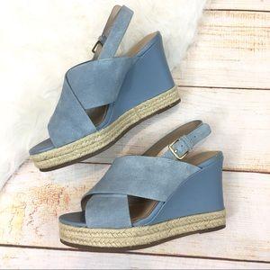 H by Halston blue suede espadrille wedge sandals